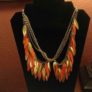 Gorgeous Vintage Orange and Gold Necklace